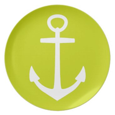 Beach Themed White Anchor on Tropical Lime Green Plate