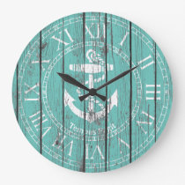 White Anchor Personalize Large Clock