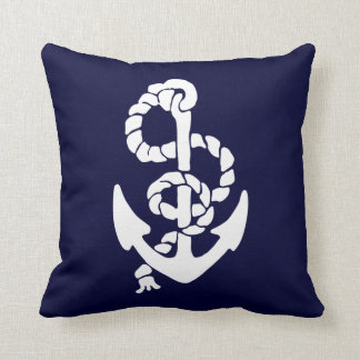 White Anchor Red And Blue Background (both sides) Throw Pillow