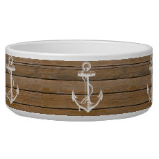 White anchor vintage rustic brown wood bowl