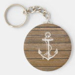 White anchor vintage rustic brown wood basic round button keychain