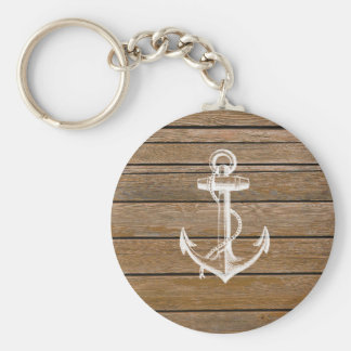 White anchor vintage rustic brown wood keychain