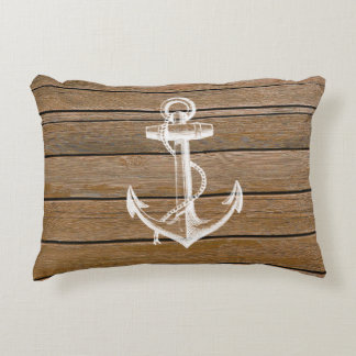 White anchor vintage rustic brown wood accent pillow