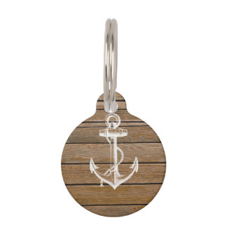 White anchor vintage rustic brown wood pet name tag