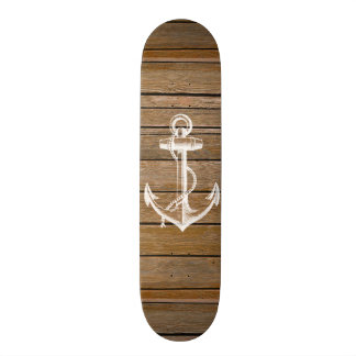 White anchor vintage rustic brown wood skateboard