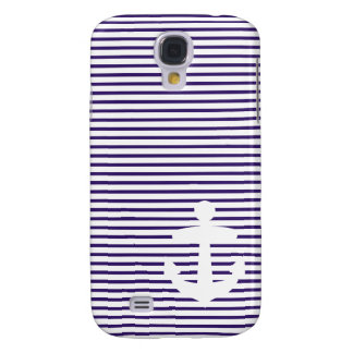 White Anchor with Blue Breton Stripes Samsung Galaxy S4 Case