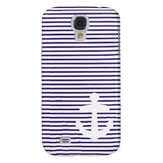White Anchor with Blue Breton Stripes Samsung Galaxy S4 Case