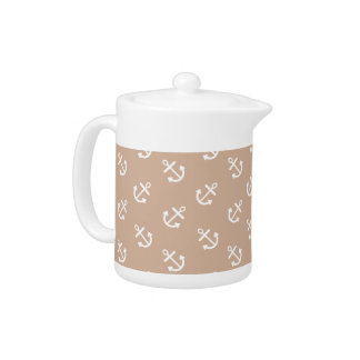 White Anchors Almond Background Pattern