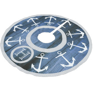 White Anchors and Rope Nautical Blue Wood Monogram Brushed Polyester Tree Skirt