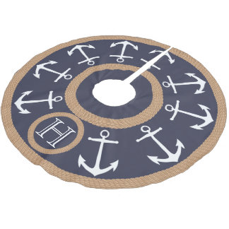 White Anchors and Rope Nautical Monogram Brushed Polyester Tree Skirt