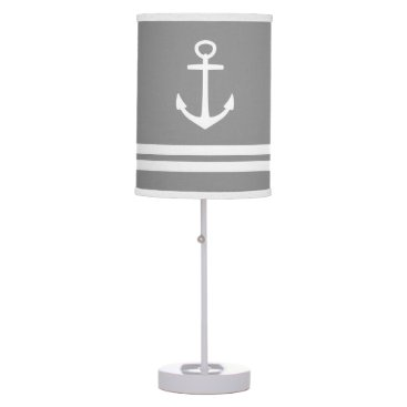 Beach Themed White Anchors and Stripes on Dove Grey Table Lamp