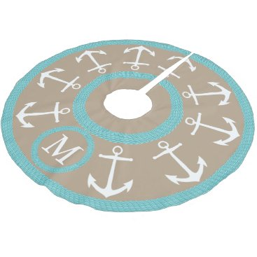 Christmas Themed White Anchors and Teal Rope Nautical Monogram Brushed Polyester Tree Skirt