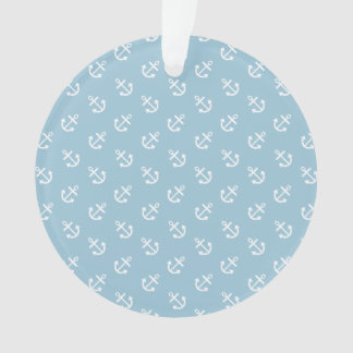 White Anchors Aquamarine Blue Background Pattern Ornament