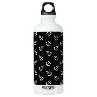 White Anchors Black Background Pattern Aluminum Water Bottle