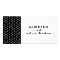 White Anchors Black Background Pattern Card