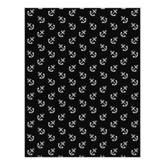 White Anchors Black Background Pattern Full Color Flyer