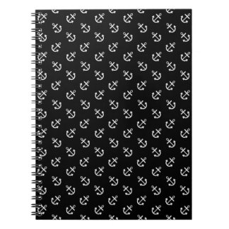 White Anchors Black Background Pattern Spiral Note Book
