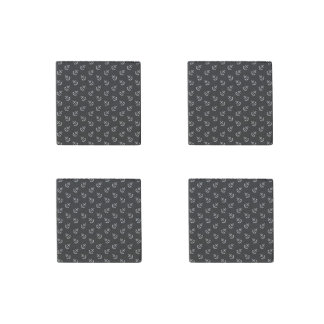 White Anchors Black Background Pattern Stone Magnet
