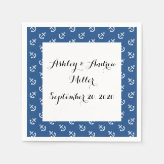 White Anchors Classic Blue Background Pattern Standard Cocktail Napkin