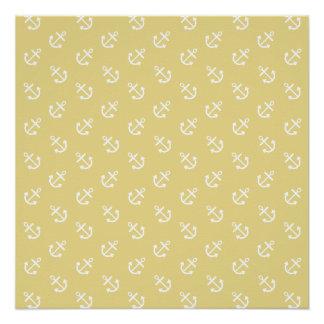 White Anchors Custard Yellow Background Pattern Poster