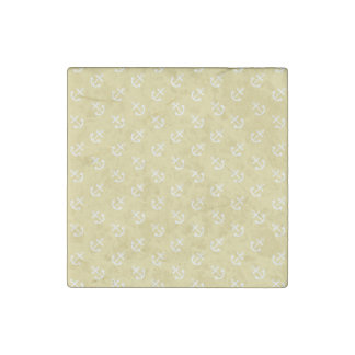 White Anchors Custard Yellow Background Pattern Stone Magnet