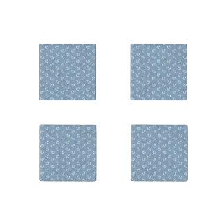 White Anchors Dusk Blue Background Pattern Stone Magnet