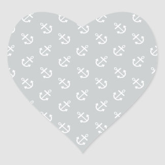 White Anchors Glacier Gray Background Pattern Heart Sticker