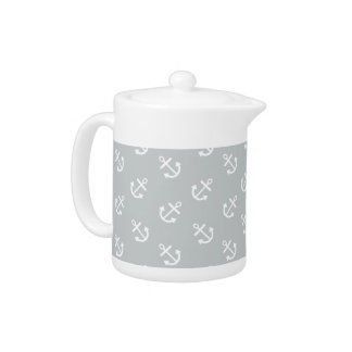 White Anchors Glacier Gray Background Pattern