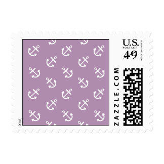 White Anchors Lavender Background Pattern Postage