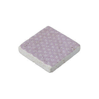 White Anchors Lavender Background Pattern Stone Magnet