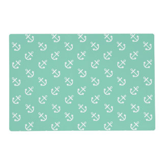 White Anchors Lucite Green Background Pattern Laminated Placemat