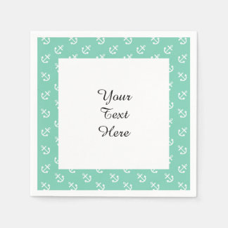 White Anchors Lucite Green Background Pattern Standard Cocktail Napkin