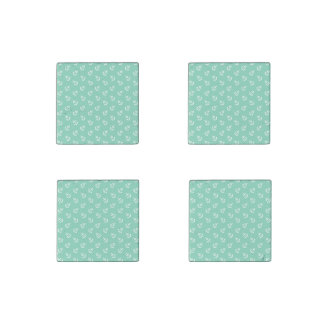 White Anchors Lucite Green Background Pattern Stone Magnet
