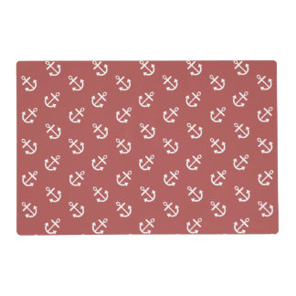 White Anchors Marsala Background Pattern Laminated Place Mat