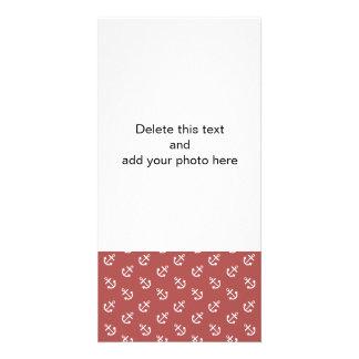 White Anchors Marsala Background Pattern Photo Card