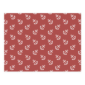 White Anchors Marsala Background Pattern Postcard