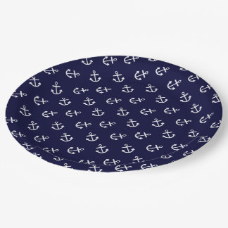 White Anchors Navy Blue Background Pattern 9 Inch Paper Plate