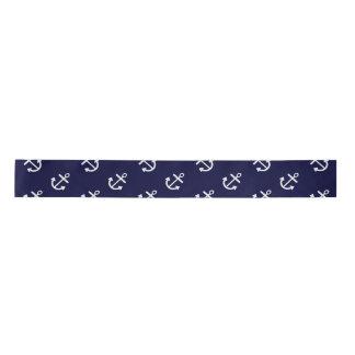 White Anchors Navy Blue Background Pattern Blank Ribbon