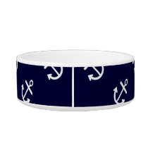 White Anchors Navy Blue Background Pattern Bowl