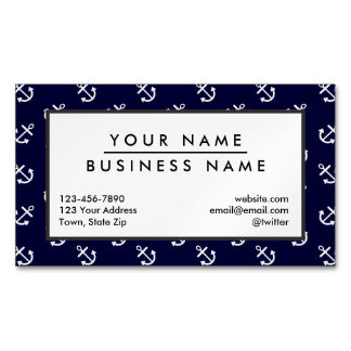 White Anchors Navy Blue Background Pattern Business Card Magnet