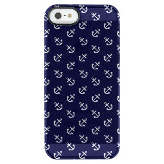 White Anchors Navy Blue Background Pattern Clear iPhone SE/5/5s Case