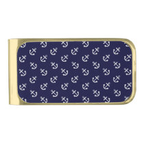 White Anchors Navy Blue Background Pattern Gold Finish Money Clip