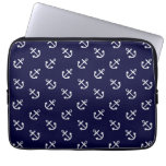 White Anchors Navy Blue Background Pattern Computer Sleeve