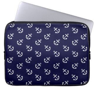 White Anchors Navy Blue Background Pattern Laptop Sleeve