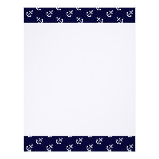 White Anchors Navy Blue Background Pattern Letterhead