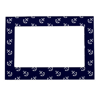 White Anchors Navy Blue Background Pattern Photo Frame Magnet