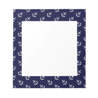 White Anchors Navy Blue Background Pattern Notepad