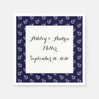White Anchors Navy Blue Background Pattern Disposable Napkin