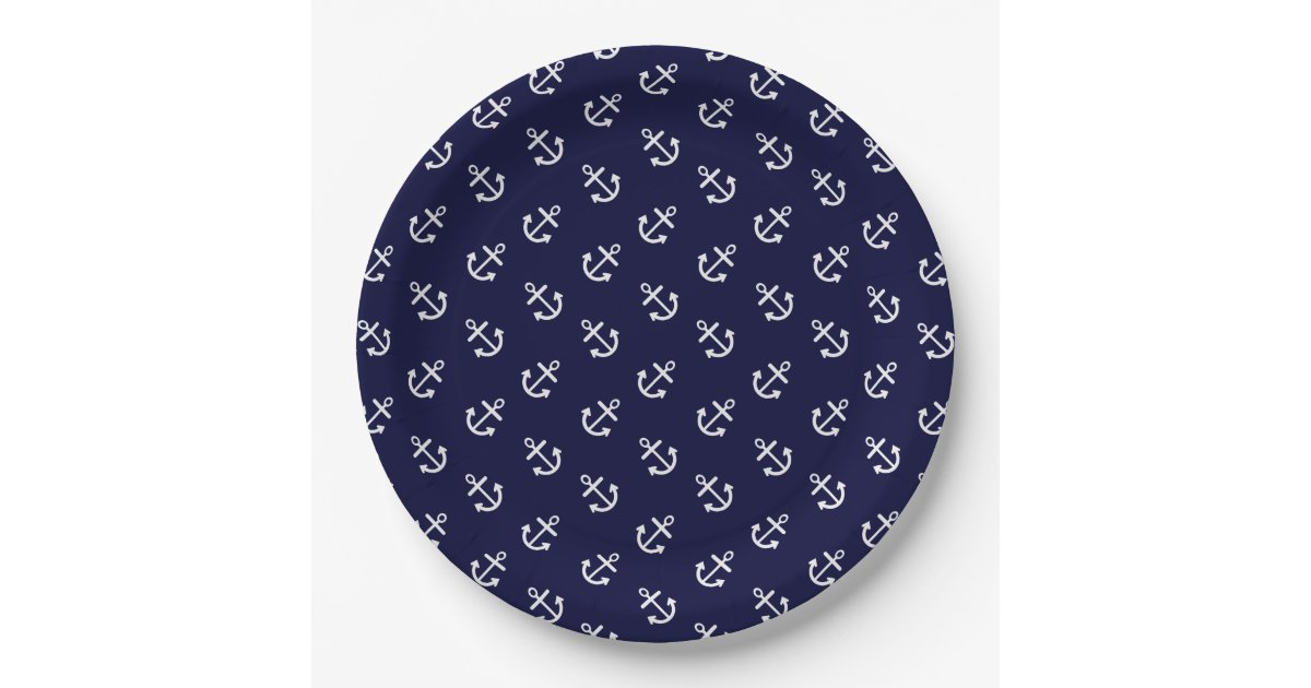 white anchors navy blue background pattern paper plate zazzle. Black Bedroom Furniture Sets. Home Design Ideas