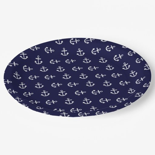 white anchors navy blue background pattern 9 inch paper plate. Black Bedroom Furniture Sets. Home Design Ideas